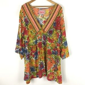 JOHNNY WAS | embroidered floral tunic blouse